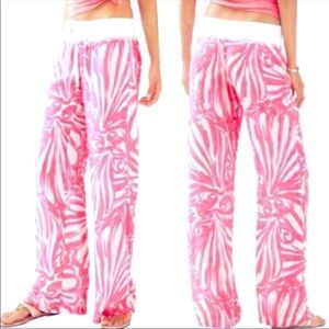 Lilly Pulitzer Linen Beach Pants Pink Sun Ray SZ S